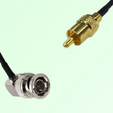 75ohm BNC Male Right Angle to RCA Male Coax Cable Assembly
