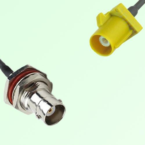 FAKRA SMB K 1027 Curry Male Plug to BNC Bulkhead Female Jack Cable
