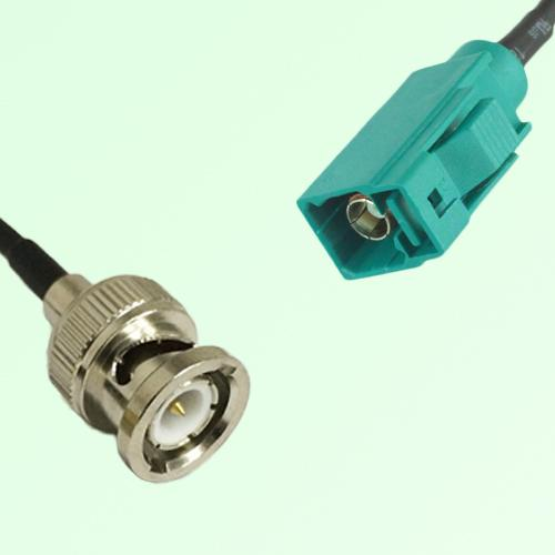 FAKRA SMB Z 5021 Water Blue Female Jack to BNC Male Plug Cable