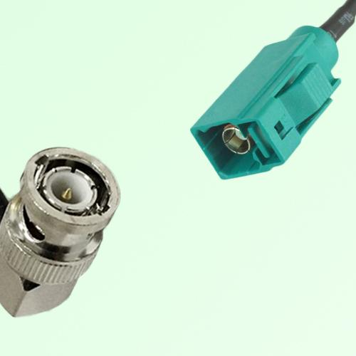 FAKRA SMB Z 5021 Water Blue Female Jack to BNC Male Plug RA Cable