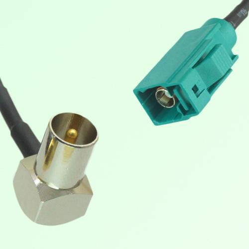 FAKRA SMB Z 5021 Water Blue Female Jack to DVB-T TV Male Plug RA Cable