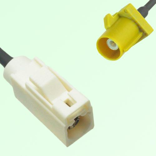 FAKRA SMB B 9001 white Female Jack to K 1027 Curry Male Plug Cable