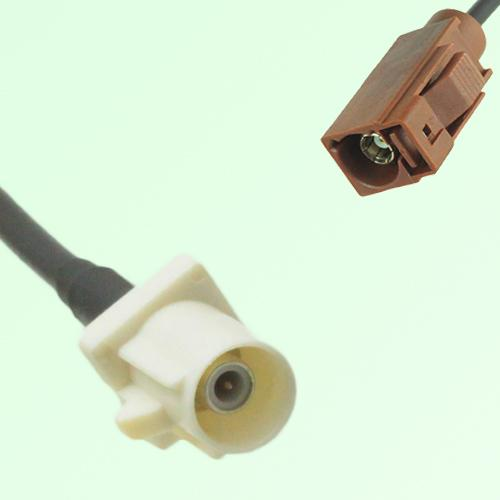 FAKRA SMB B 9001 white Male Plug to F 8011 brown Female Jack Cable