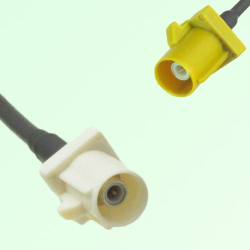 FAKRA SMB B 9001 white Male Plug to K 1027 Curry Male Plug Cable