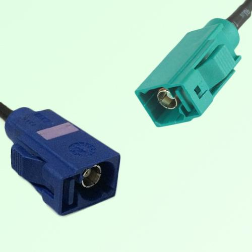FAKRA SMB C 5005 blue Female Jack to Z 5021 Water Blue Female Cable