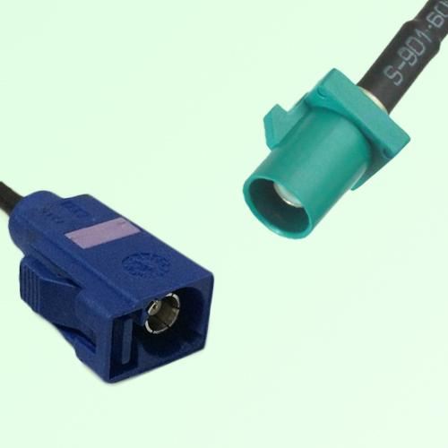 FAKRA SMB C 5005 blue Female Jack to Z 5021 Water Blue Male Plug Cable