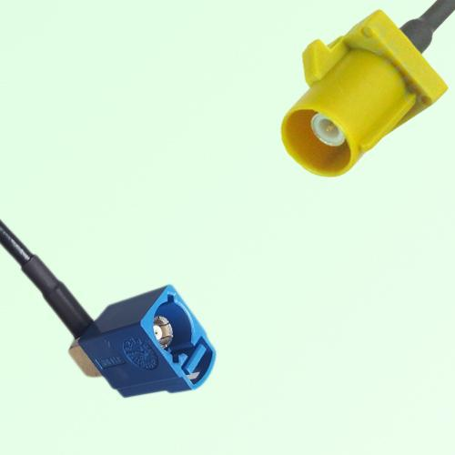 FAKRA SMB C 5005 blue Female Jack RA to K 1027 Curry Male Plug Cable