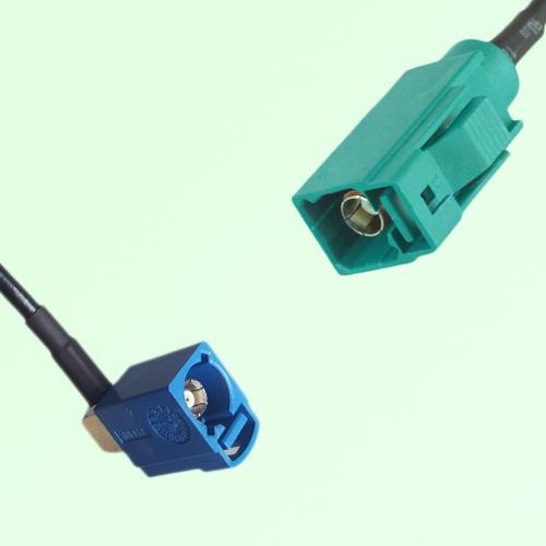 FAKRA SMB C 5005 blue Female Jack RA to Z 5021 Water Blue Female Cable