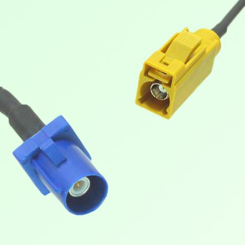 FAKRA SMB C 5005 blue Male Plug to K 1027 Curry Female Jack Cable