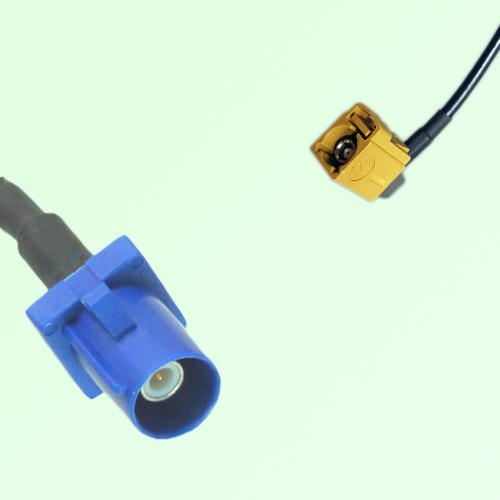 FAKRA SMB C 5005 blue Male Plug to K 1027 Curry Female Jack RA Cable