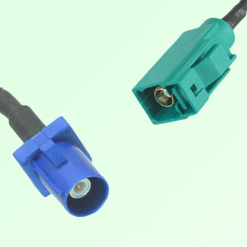 FAKRA SMB C 5005 blue Male Plug to Z 5021 Water Blue Female Jack Cable
