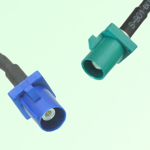 FAKRA SMB C 5005 blue Male Plug to Z 5021 Water Blue Male Plug Cable