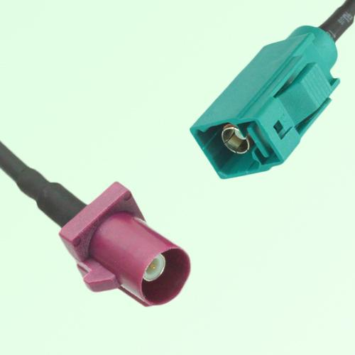 FAKRA SMB D 4004 bordeaux Male Plug to Z 5021 Water Blue Female Cable