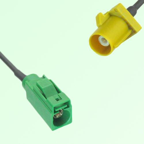 FAKRA SMB E 6002 green Female Jack to K 1027 Curry Male Plug Cable