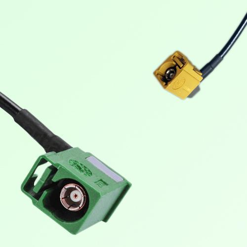 FAKRA SMB E 6002 green Female Jack RA to K 1027 Curry Female RA Cable