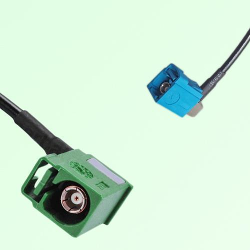 FAKRA SMB E 6002 green Female RA to Z 5021 Water Blue Female RA Cable