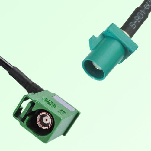 FAKRA SMB E 6002 green Female Jack RA to Z 5021 Water Blue Male Cable