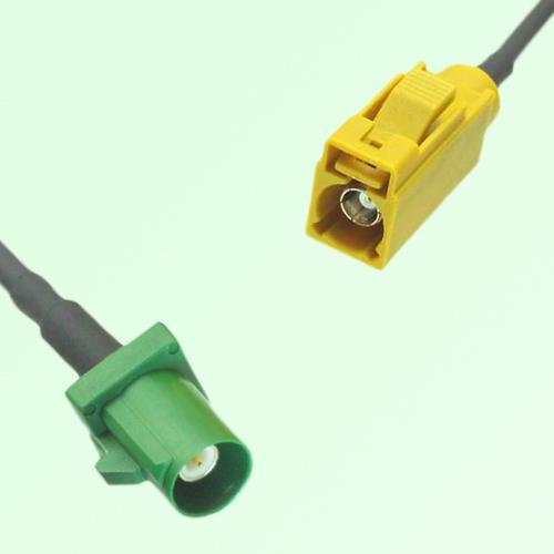 FAKRA SMB E 6002 green Male Plug to K 1027 Curry Female Jack Cable