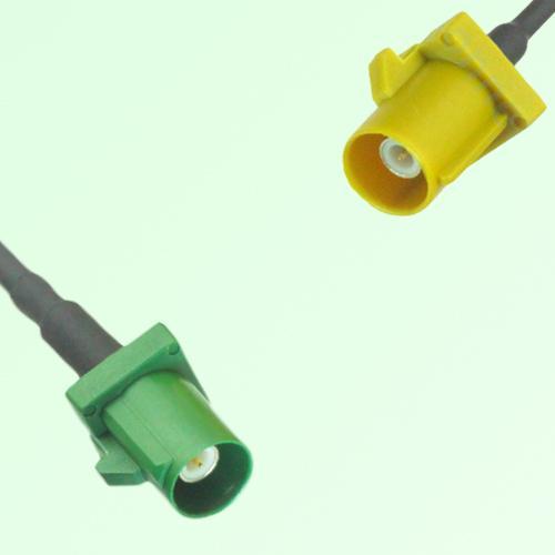 FAKRA SMB E 6002 green Male Plug to K 1027 Curry Male Plug Cable