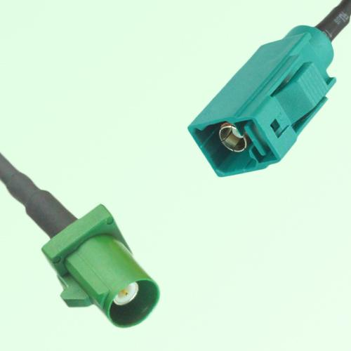 FAKRA SMB E 6002 green Male Plug to Z 5021 Water Blue Female Cable