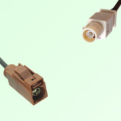 FAKRA SMB F 8011 brown Female Jack to I 1001 beige Male Plug Cable