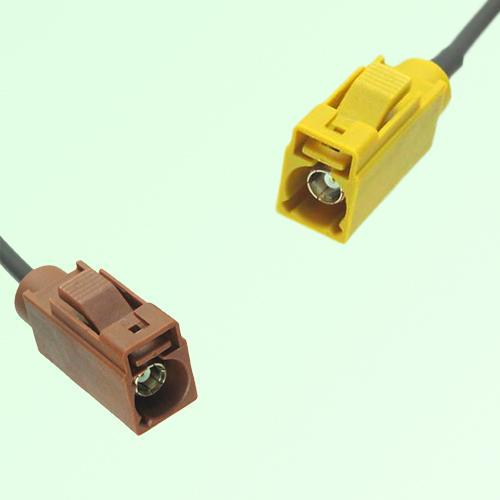 FAKRA SMB F 8011 brown Female Jack to K 1027 Curry Female Jack Cable