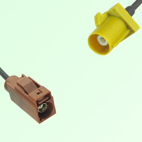 FAKRA SMB F 8011 brown Female Jack to K 1027 Curry Male Plug Cable