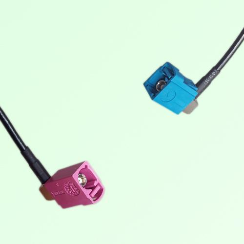 FAKRA SMB H 4003 violet Female RA to Z 5021 Water Blue Female RA Cable