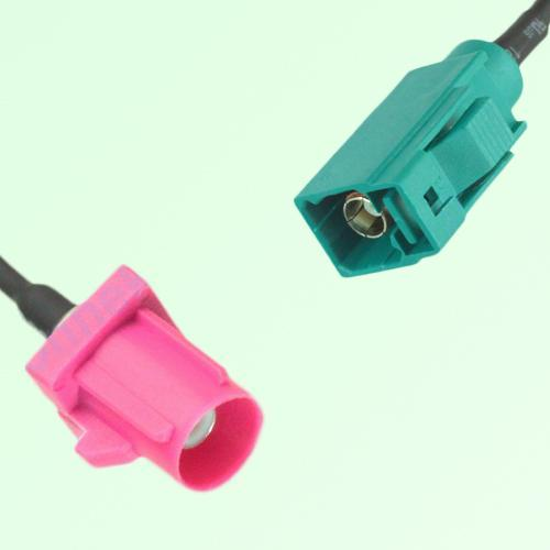 FAKRA SMB H 4003 violet Male Plug to Z 5021 Water Blue Female Cable
