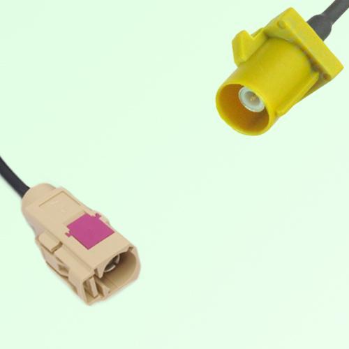 FAKRA SMB I 1001 beige Female Jack to K 1027 Curry Male Plug Cable