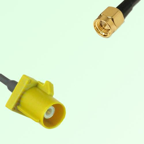 FAKRA SMB K 1027 Curry Male Plug to SMA Male Plug Cable