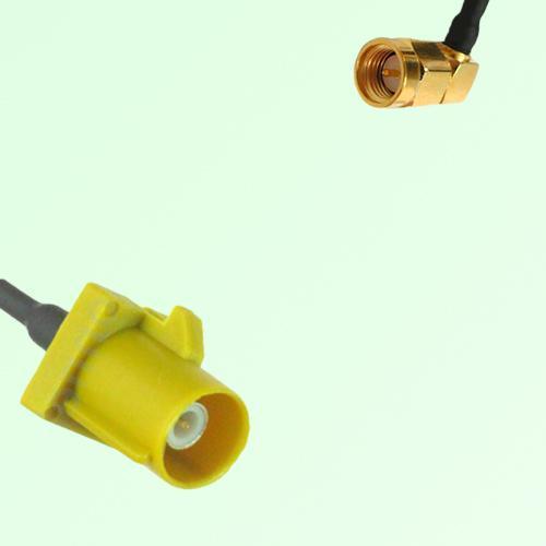 FAKRA SMB K 1027 Curry Male Plug to SMA Male Plug Right Angle Cable