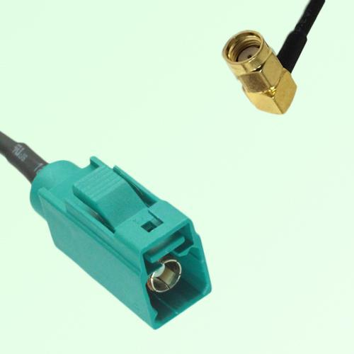FAKRA SMB Z 5021 Water Blue Female Jack to RP SMA Male Plug RA Cable