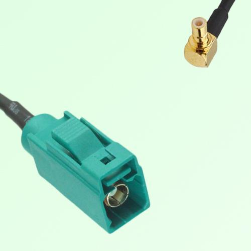 FAKRA SMB Z 5021 Water Blue Female Jack to SMB Male Plug RA Cable