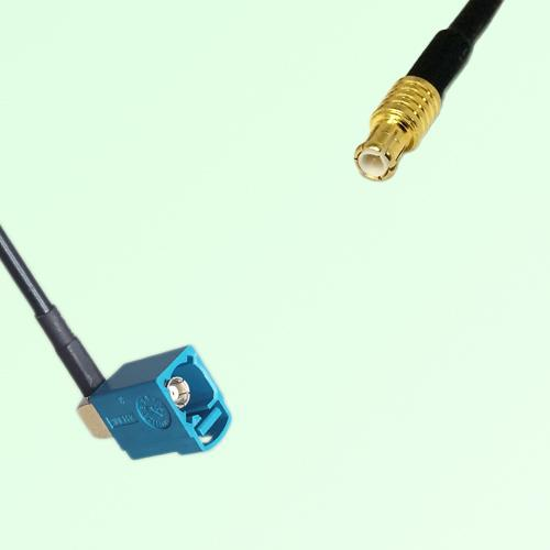 FAKRA SMB Z 5021 Water Blue Female Jack RA to MCX Male Plug Cable