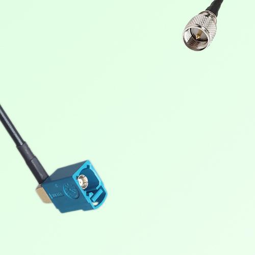 FAKRA SMB Z 5021 Water Blue Female Jack RA to Mini UHF Male Plug Cable