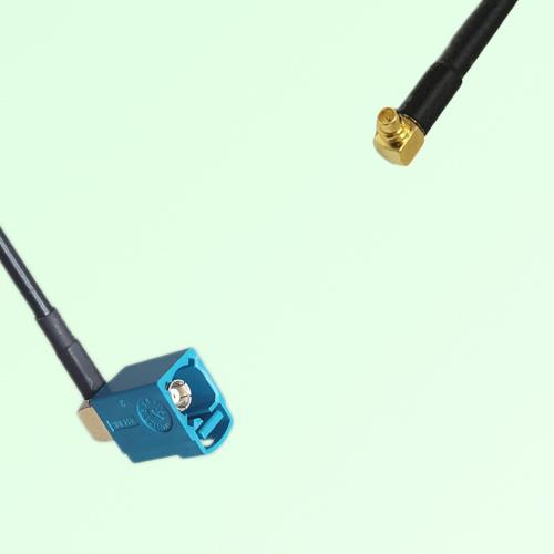 FAKRA SMB Z 5021 Water Blue Female Jack RA to MMCX Male Plug RA Cable