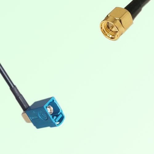 FAKRA SMB Z 5021 Water Blue Female Jack RA to SMA Male Plug Cable