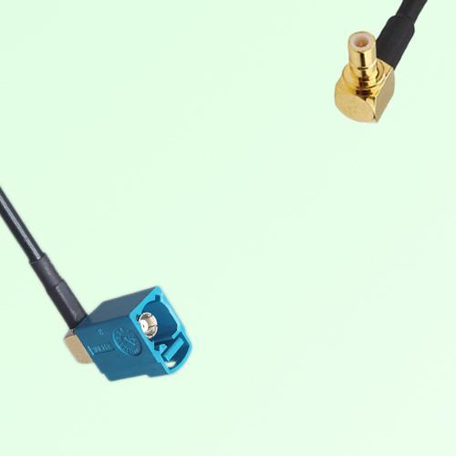 FAKRA SMB Z 5021 Water Blue Female Jack RA to SMB Male Plug RA Cable