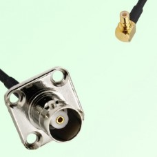 BNC Female 4 Hole Panel Mount to SMB Male RA  RF Cable Assembly