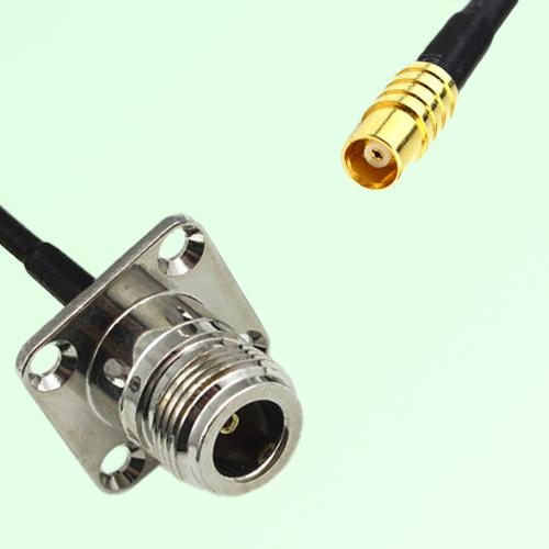 N Female 4 Hole Panel Mount to MCX Female  RF Cable Assembly