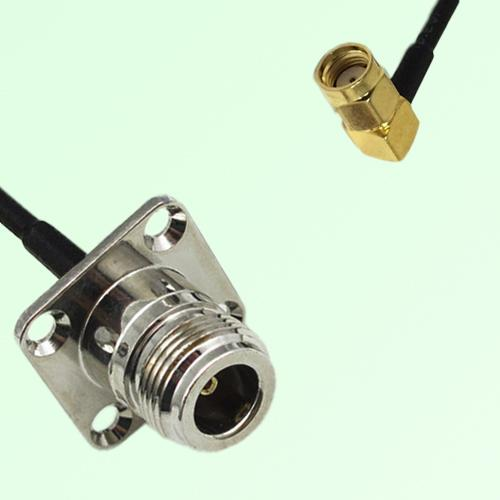 N Female 4 Hole Panel Mount to RP SMA Male RA  RF Cable Assembly