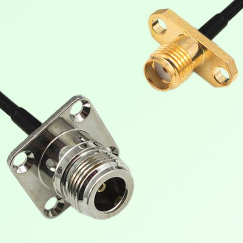 N Female Panel Mount to SMA Female Panel Mount  RF Cable Assembly