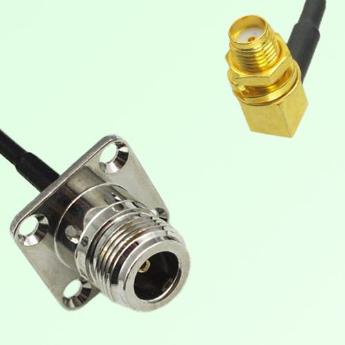 N Female Panel Mount to SMA Bulkhead Female RA  RF Cable Assembly