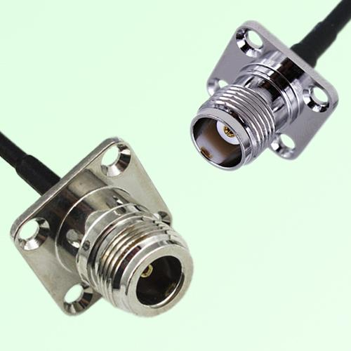 N Female Panel Mount to TNC Female Panel Mount  RF Cable Assembly