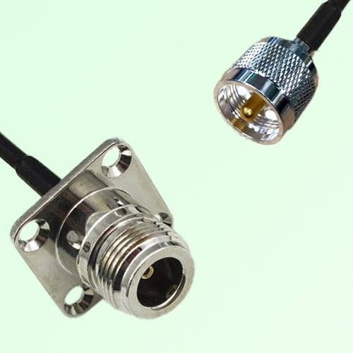 N Female 4 Hole Panel Mount to UHF Male  RF Cable Assembly