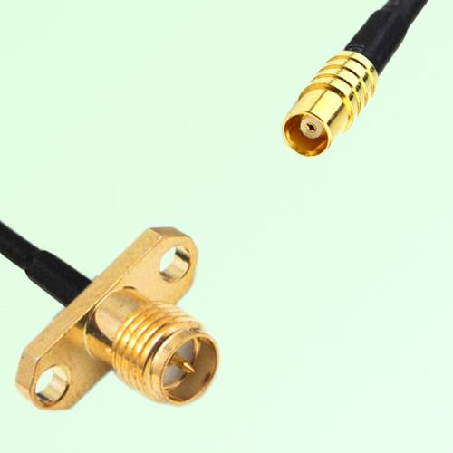 RP SMA Female 2 Hole Panel Mount to MCX Female  RF Cable Assembly