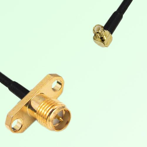 RP SMA Female 2 Hole Panel Mount to MCX Male RA  RF Cable Assembly