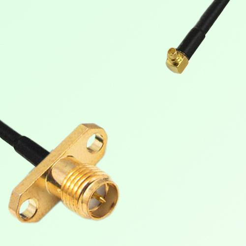 RP SMA Female 2 Hole Panel Mount to MMCX Male RA  RF Cable Assembly