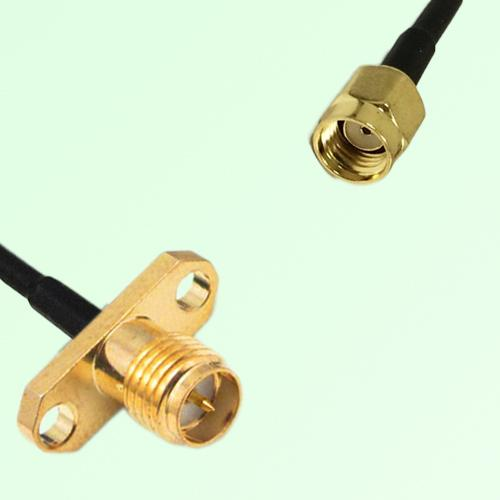 RP SMA Female 2 Hole Panel Mount to RP SMA Male  RF Cable Assembly